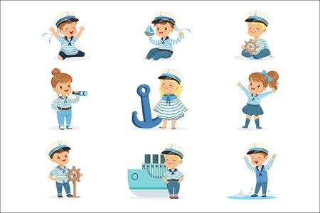 Małe dzieci w kostiumach marynarzy marzących o żeglowaniu po morzach, bawiące się zabawkami Urocze postacie z kreskówek. Dzieci marzą o przyszłym zawodzie zestaw ładny ilustracje wektorowe z szczęśliwych dzieci.