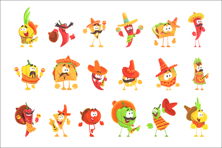 Mexican Food And Vegetables Set OF Cool Cartoon Characters In National Clothes With Guitars And Maracas, Smiling And Dancing. Funny Alive Eatable Characters From Mexico With Culture Attributes. Illustration
