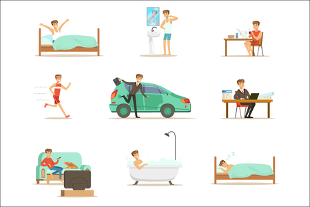 Modern Man Daily Routine From Morning To Evening Series Of Cartoon Illustrations With Happy Character. Normal Work Day Life Scenes Of Smiling Person From Waking Up To Going To Sleep Illustration