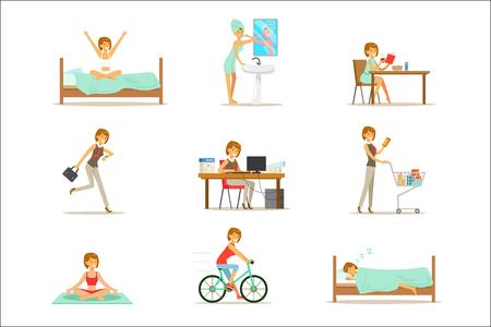 Routine quotidiana della donna moderna dalla mattina alla sera serie di illustrazioni dei cartoni animati con carattere felice. Scene di vita quotidiana di lavoro normale di persona sorridente dal risveglio all'andare a dormire.