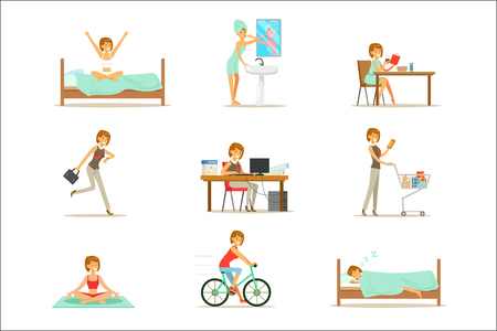 Modern Woman Daily Routine From Morning To Evening Series Of Cartoon Illustrations With Happy Character. Normal Work Day Life Scenes Of Smiling Person From Waking Up To Going To Sleep.