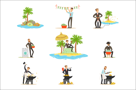 Illegal Money Laundering And Using Offshores Series Of Illustrations With Corrupt Businessman Washing Dirty Money. Business, Corruption And Tax Heaven Related Collection Of Metaphorical Cartoon Illustrations. Stock Vector - 111655259