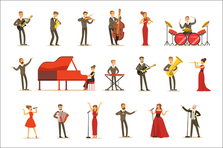 Adult Musicians And Singers Performing A Musical Number On Stage In Music Hall Set Of Cartoon Characters Archivio Fotografico - 107042416