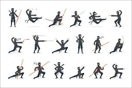 Japanese Ninja Assassin In Full Black Costume Performing Ninjitsu Martial Arts Postures With Different Weapons Set Of Illustrations. Male Japan Invisible Warrior Spy And His Gear And Skills Cartoon Drawings.