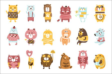 Cute Toy Bear Animals Set Of Childish Stylized Characters In Clothes In Creative Design set Vectores