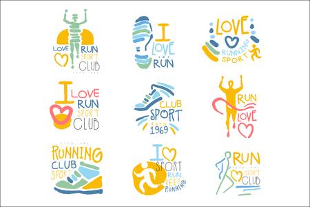 Laufende Unterstützer und laufen Fans Club für Leute, die Sport lieben Satz bunte Promo-Zeichen-Design-Vorlagen Vektorgrafik