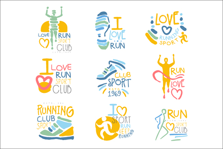 Running Supporters And Run Fans Club For People That Love Sport Set Of Colorful Promo Sign Design Templates 版權商用圖片 - 107666085