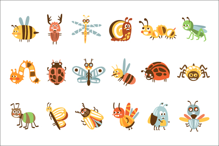 Funky Bugs And Insects Set Of Small Animals With Smiling Faces And Stylized Design Of Bodies Иллюстрация