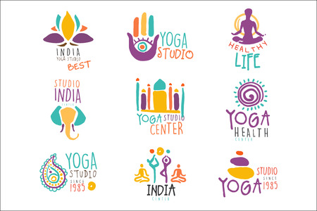 Yoga Center Set Of Colorful Promo Sign Design Templates With Different Indian Spiritual Symbols For Fitness Studio Illustration