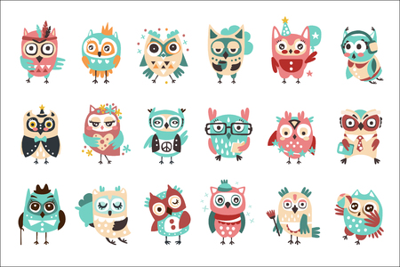 Stylized Design Owls Emoji Stickers Set Of Cartoon Childish Vector Characters With Funky Elements. Cute Night Birds Different Situations And Activities Series Of Vector Illustrations. Vectores
