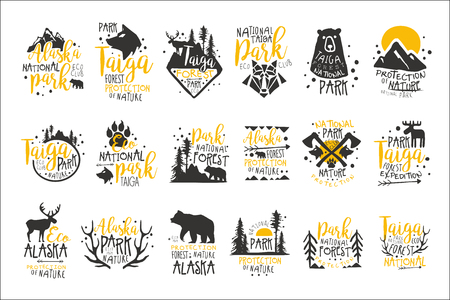 알래스카 국립 공원 프로 모션 징후 광 야 요소 실루엣으로 다채로운 벡터 디자인 서식 파일의 시리즈