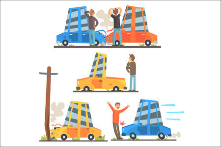 Car Road Accident Resulting In Transportation Damage Set Of Stylized Cartoon Illustrations. Vehicles Crushing Into Each Other, Poles And Breaking Down Situations.