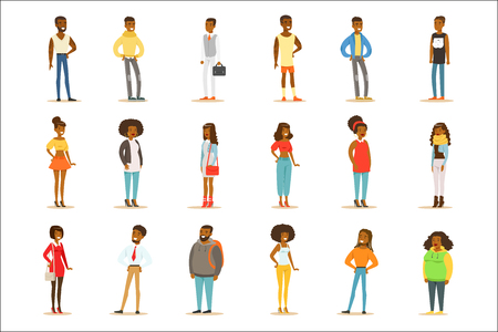 Afro-American Black People Street Style Clothing Set Of Cartoon Characters Standing. American Men And Women Of African Ethnic Group In Summer Clothes Vector Illustrations. Illustration