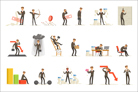 Business Fail And Manager Suffering Loss And Being In Debt Set Of Buncrupcy And Company Failure Vector Illustrations. Businessman Failing And Being Devastated Series OF Cartoon Character Work Misfortunes.