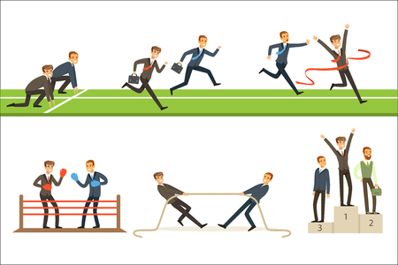 Business Competition Set Of Illustrations With Businessman Running And Competing In Sports. Cartoon Character In Office Suits With Suitcases Winning Different Sportive Disciplines.
