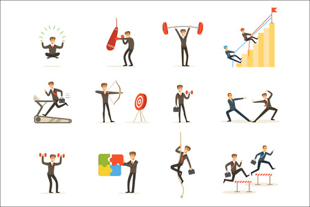 Businessman Working Out In Gym, Metaphor Of Business Preparation Training Set Of Illustrations. Male Cartoon Character In Suit Doing Sportive Exercises To Get Ready For Work.
