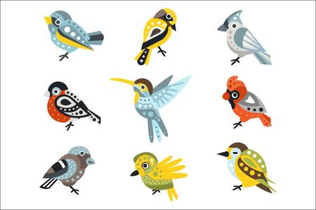 Kleine Vogelarten, Spatzen und Kolibris Satz von dekorativen künstlerischen Design Wildtiere Vektor-Illustrationen. Tropische und europäische Vögel mit flippigen geometrischen Mustern auf der Flügel-Reihe von Aufklebern.