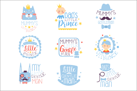 Little Prince Set Of Prints For Infant Boy Room Or Clothing Design Templates In Pink And Blue Color. Vector Labels With Quotes Series Of Childish Posters For Toddler. Illustration