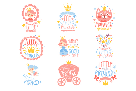 Little Princess Set Of Prints For Infant Girls Room Or Clothing Design Templates In Pink And Blue Color. Vector Labels With Quotes Series Of Childish Posters For Toddler.