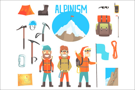 Three Mountaineers And Mountaineering Equipment Set Of Alpinism And Alpinist Tools Vector Illustrations. Three Smiling Cartoon Characters Doing Mountain Climbing And Hiking Attributes. Illustration
