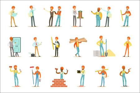Arquitectos y trabajadores de la construcción Proceso de construcción de la casa desde el proyecto hasta la construcción del conjunto de ilustraciones. Personajes masculinos de dibujos animados que trabajan en el conjunto de construcción, obreros y supervisores.