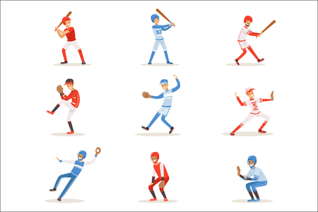 Professional League Baseball Players On The Field Playing Baseball, Sportsmen In Uniform Set Of Vector Illustrations. Sportive Professionals Catchers, Pitchers And Batters Cartoon Smiling Character. 向量圖像