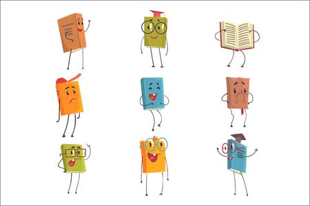 Simpatici personaggi Emoji libro umanizzato che rappresentano diversi tipi di letteratura, bambini e libri di scuola. Sorridere, ridere ed esprimere altre emozioni aveva manuali di copertina e illustrazioni di libri di narrativa.