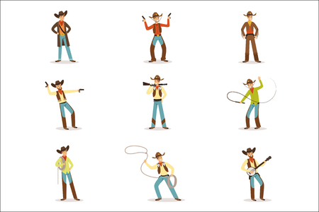 North American Cowboy With Different Accessories Set Of Cartoon Characters, Modern Western Cattle Hurdlers In Traditional Texan Cowboy Outfit. Man Dressed In Wild West Rodeo Participant Costume Vector Illustrations. Иллюстрация