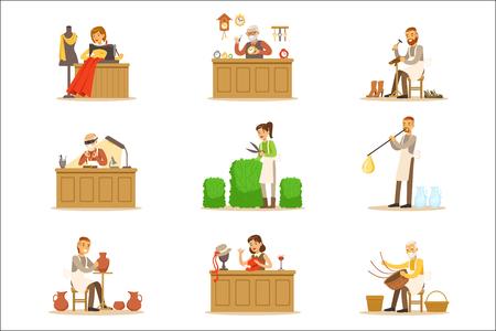 Artisan Craftsmanship Masters, Adult People und Craft Hobbys und Berufe Set von Vektor-Illustrationen.