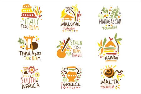 Touristisches Reisebüro Satz bunte Promo-Zeichen-Design-Vorlagen mit verschiedenen Tourismus-Ländern und ihren berühmten Objekten Vektorgrafik