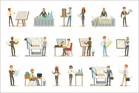 Architetto professione insieme di immagini vettoriali con architetti che progettano progetti e progetti per la costruzione di edifici. Personaggi dei cartoni animati sorridenti coinvolti nella progettazione di piani architettonici per il paesaggio moderno. Vettoriali