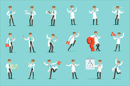 Doctor Work Process Set Of Hospital Related Scenes With Young Medical Worker Cartoon Character. Man Working In Healthcare Different Situations Series Of Vector Illustration. Illustration