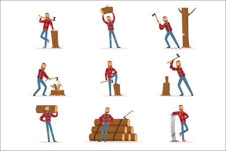 Klassischer amerikanischer Holzfäller im karierten Hemd, das das Schneiden und Hacken von Holz mit Hackmesser und einer Säge arbeitet. Holzfäller-Zeichentrickfigur, die in schwerfälligen Satz von Arbeitsszenen-Vektor-Illustrationen arbeitet. Vektorgrafik