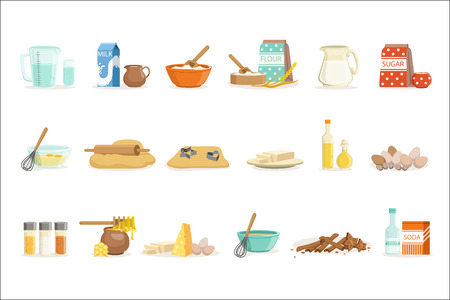 Bakken ingrediënten en keukengerei en gebruiksvoorwerpen Set van realistische Cartoon vectorillustraties met koken gerelateerde objecten. Keukenapparatuur en verse boerderijproducten voor bakkerijbehoeften Reeks kleurrijke pictogrammen.