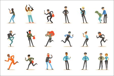 Policía y patrulla de carretera feliz personaje de dibujos animados de guardia con uniforme de policía. Hombre y mujer en el trabajo de servicio público captura de ilustraciones vectoriales criminales. Ilustración de vector