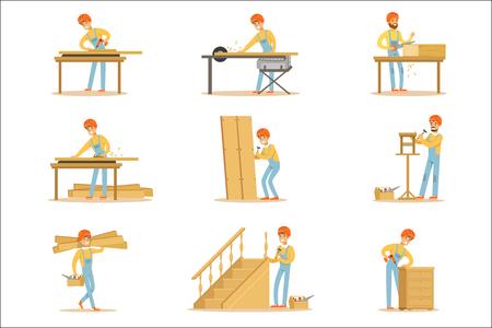 Professionele houten jointer op het werk Crafting van houten meubels en andere bouwelementen vectorillustraties. Cartoon karakter kabinet Maker Set van werksituaties.