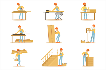 Professional Wood Jointer At Work Crafting Wooden Furniture And Other Construction Elements Vector Illustrations. Cartoon Character Cabinet Maker Set Of Work Situations. Illustration