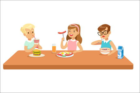 Kids Eating Brekfast And Lunch Food And Drinking Soft Drinks Set Of Cartoon Characters Enjoying Their Meal Sitting At The Table. Cute Children And Meals They Eat Vector Illustrations In Childish Colorful Style.