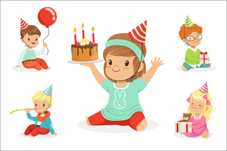 Little Children Birthday Celebration Party With Festive Attributes And Adorable Kids Set Of Characters. Happy Birthday Fun Illustrations With Toddlers And Young Teens In Cartoon Colorful Style