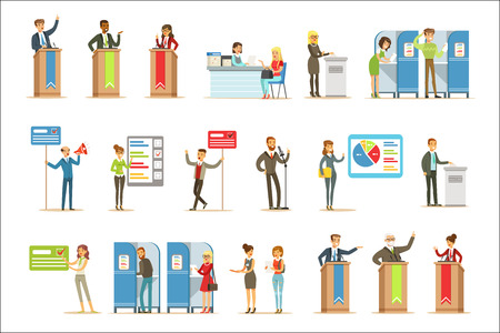 Candidatos políticos y proceso de votación conjunto de ilustraciones temáticas de elecciones democráticas. Personajes de dibujos animados que colocan sus votos en las urnas y políticos que hacen campaña para ser electos.