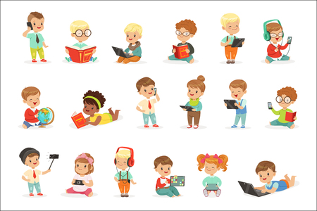 Small Kids Using Modern Gadgets And Reading Books, Childhood And Technology Series Of Cute Illustrations. Adorable Toddlers Using Different Devices Collection Of Cartoon Characters. Illustration