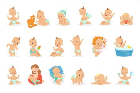 Adorable bébé heureux et son ensemble de routine quotidienne d'illustrations de la petite enfance et du nourrisson de dessin animé mignon. Autocollants vectoriels avec des scènes de vie de tout-petit et des émotions dans un style assez girly. Vecteurs