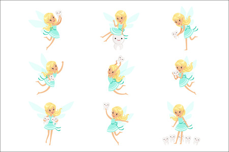 Tooth Fairy, Blond Little Girl In Blue Dress With Wings And Baby Teeth Set Of Cute Girly Cartoon Fantastic Fairy-Tale Creature