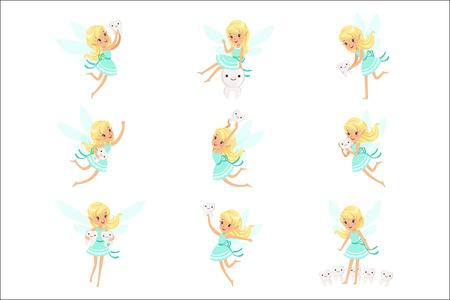 Tandenfee, Blond meisje In blauwe jurk met vleugels en babytanden Set van schattige Girly Cartoon fantastisch sprookjesachtig schepsel
