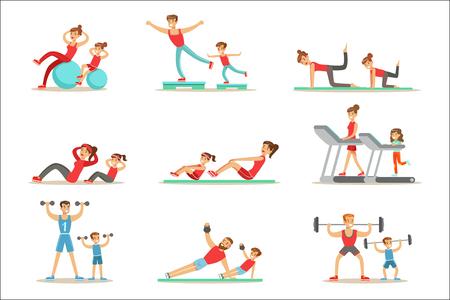 Padre e hijo haciendo ejercicios deportivos y entrenamiento deportivo juntos divirtiéndose serie de escenas. Personajes de dibujos animados que disfrutan de la actividad física con niños haciendo ejercicios similares en el gimnasio y al aire libre. Ilustración de vector