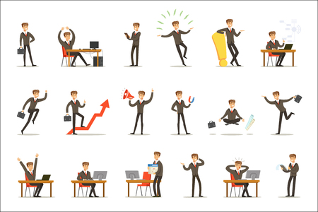 Businessman Work Process Set Of Business Related Scenes With Young Entrepreneur Cartoon Character. Manager In Suit Working In The Office And Out Of It In Finance Vector Illustrations. Ilustração