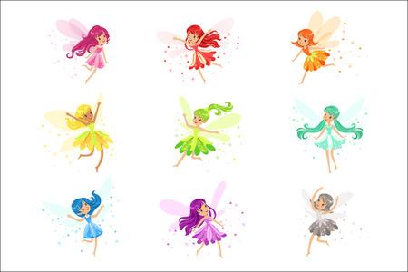 Bunter Regenbogensatz der niedlichen Girly Feen mit Winden und langem Haartanzen, umgeben von Funken und Sternen in hübschen Kleidern Vektorgrafik
