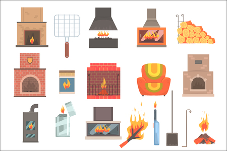 Indoors And Outdoors Fireplaces And Bonfires With Related Attributes And Tools Set Of Vector Cartoon Objects. Isolated Items For House Interior Decor And Home Warming. Illustration