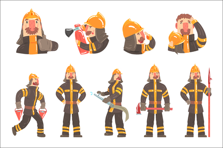 Funny Fireman At Work Using Firefighting Gear And Wearing Firefighter Uniform With Helmet And Bunker Coat. Vector Illustration Set With Fire Rescue Service Professional Male Character.