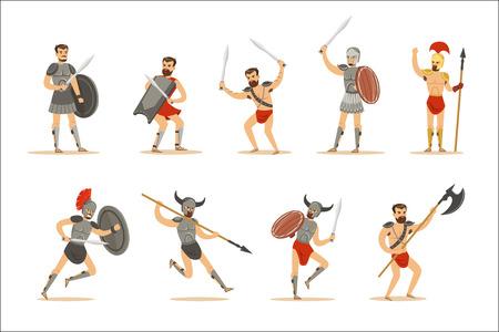 Gladiatoren der Ära des Römischen Reiches in historischer Rüstung mit Schwertern und anderen Waffen, die auf Arena-Reihe von Zeichentrickfiguren kämpfen. Krieger von Rom und Sparta in traditionellen alten Armee-Outfits.